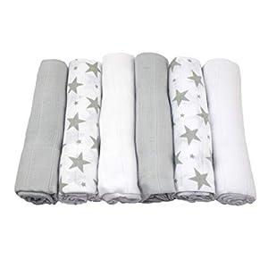 MuslinZ 6pk Unisex 100% puro algodón suave bebé muselina cuadrados eructo paños 70x70cm – gris estrellas blanco