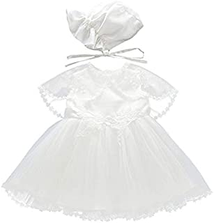 zhxinashu Girl Dress Christening Gown Summer - Sleeveless Lace Long Skirt with Hat