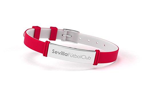 Sevilla FC - Pulsera Fashion Roja Ajustable para Hombre, Mujer y Niño | Pulsera Sevillista de Silicona y Acero Inoxidable