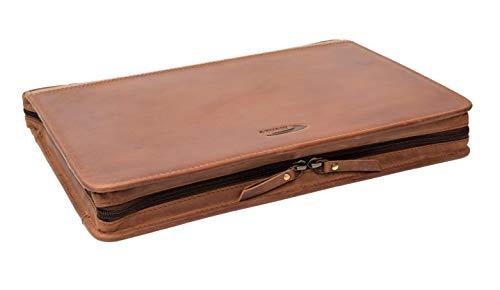 Menzo Schreibmappe aus echten Leder, Konferenzmappe, A4 Dokumentenmappe (delabraun)