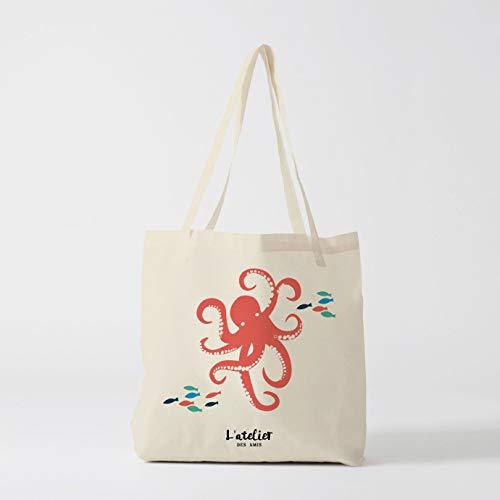 Bolso de la compra de lona de pulpo bolsa bolsa de la compra bolso de pañales bolsa de la compra bolsa de la naturaleza bolsa de animal
