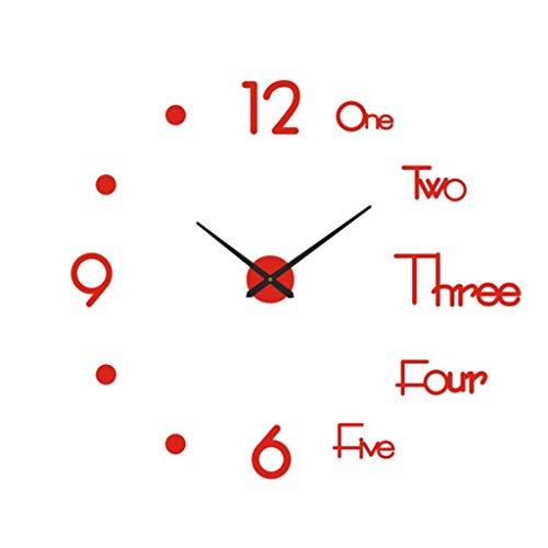 LHY DECORATION Grande Orologio da Parete Senza Cornice Moderno Fai-da-Te, Adesivo Specchio 3D Muto in Metallo Grandi Orologi Decorazioni per l'home Office Accessori,Rosso
