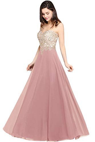 MisShow Damen Festliche Kleider für Hochzeit Abendkleid Ballkleider A Linie Abi Kleider Lang Rosa 32