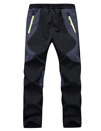 Echinodon Kinder Gefütterte Hose Softshellhose Winddicht Wasserabweisend Atmungsaktiv Warm Regenhose Skihose Jungen Mädchen Trekkinghose Wanderhose Schwarz XL