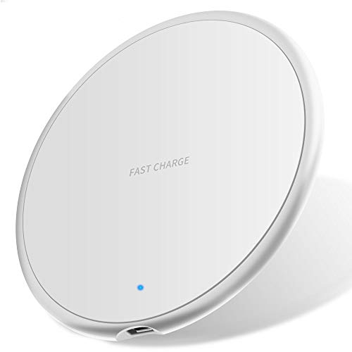 Nething Wireless Charger Ricarica Wireless 10W, Caricatore Wireless compatibile con iPhone, Samsung, Huawei, Xiaomi, Base Ricarica Wireless 10W Ricarica Veloce Quick Charge 3.0 (White)