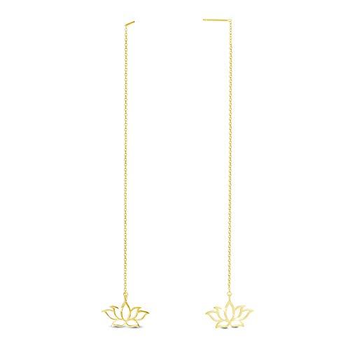 SHEGRACE Orecchini Lunghi Loto da Donna in Argento Sterling 925 Platino, Oro Rosa, Orecchini Pendenti Placcati Oro, 150mm