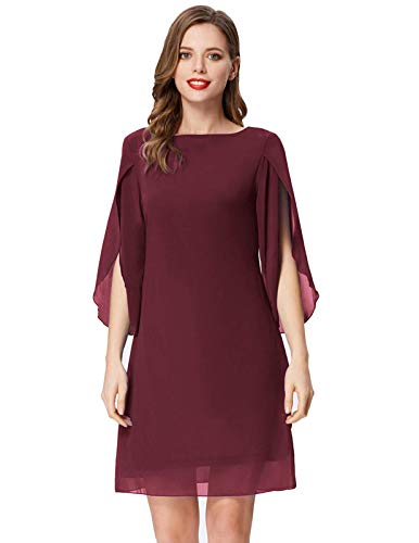 GRACE KARIN Women 3/4 Sleeve Loose Formal Evening Ball Gown Cocktail Dresses Wine Red XL