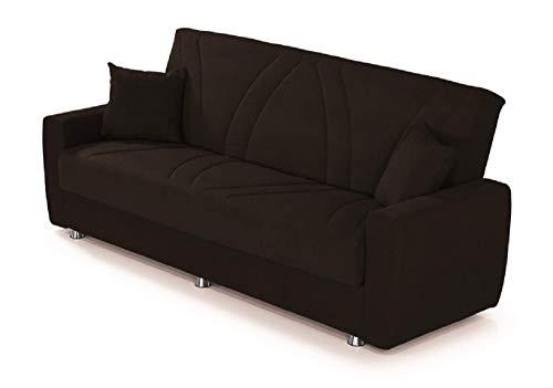Alfa Sofa Divano Due posti con meccanismo a clic clac (Apertura a Libro) e vano Contenitore Paros, 225x72x93cm (LxPxA) (Tessuto 05 - Colore 8 Nero)