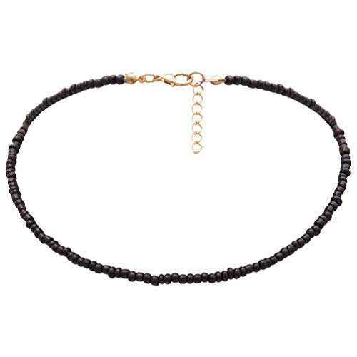 Holibanna Frauen Choker Halskette Samen Joker Perlen Einlagigen Hals Kette Schmuck (Schwarz)
