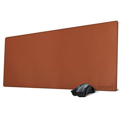 Alfombrilla Ratón Tamaño XXL Almohadilla De Escritorio Cuero de la PU para Gaming y Oficina con Gran Tamaño 900 x 400 mm (Marrón)