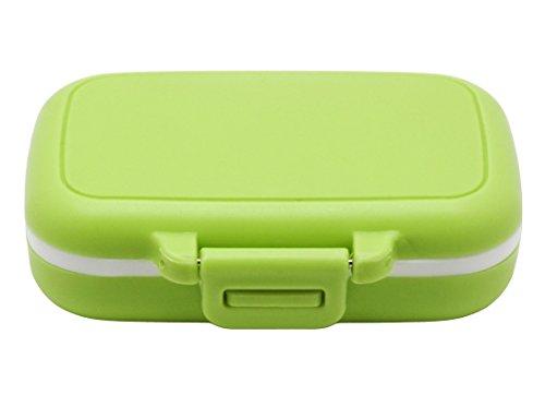 Meta-U Kleine Pillendose Ergänzung für Tasche oder Geldbeutel - 3 herausnehmbare Fächer Reise Medikamente Tragetasche - Tägliche Vitamin Organizer Box (Grün)