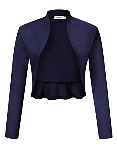 Clearlove dames Bolero lange mouwen schouderjas open front feestelijk blazer (verpakking MEHRWEG)
