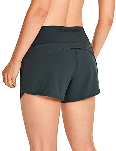 CRZ YOGA Women's Quick-Dry Athletic Sports Running Workout Shorts with Zip Pocket - 4 Inches Melanite 4''-R403 Medium