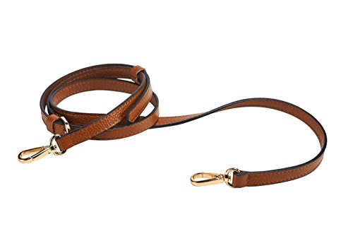 "LIVE UP Brown Full Grain Leather Adjustable Replacement Cross Body Purse Shoulder Strap Handbag Bag Wallet, 1/2"" Width, Adjustable Length 43""-51"",Brass Tone (Gold Tone) Hardware Buckles"