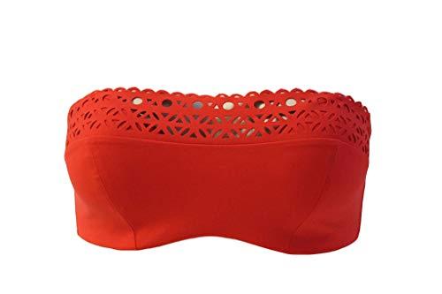 Lise Charmel Bandeau Bikini Top 80B Rot Ajourage Couture Swim Bademode #T15a