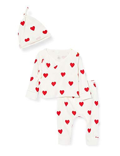 Petit Bateau Geschenkset mit roten Herzen, Baby Mädchen an der Küste Gr. 74cm (12M), Marshmallow/Terkuit