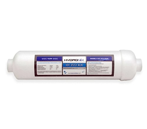 Hydronix ICF-2512-ALK Alkaline Remineralization & pH Inline Water Filter Fits Any RO Drinking Systems, 1/4' NPT Ports