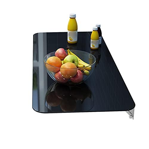WJDY Mesa De Centro Colgante, Vidrio Templado Mesa Colgante Plegable, Impermeable y Resistente A Los Arañazos, Duradero, 6 Tamaños (Color : Negro, Size : 60x30cm)