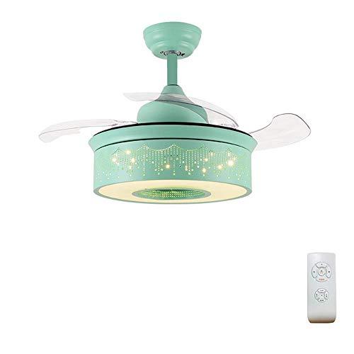 LZQBD Lámpara de Araña, Luz de Techo de 36 Pulgadas con Luz de Control Remoto, Luz Moderna Luz de Techo Silenciosa de 3 Tonos con Lámpara Adecuada para Sala de Estar/Sala de Estar,Verde