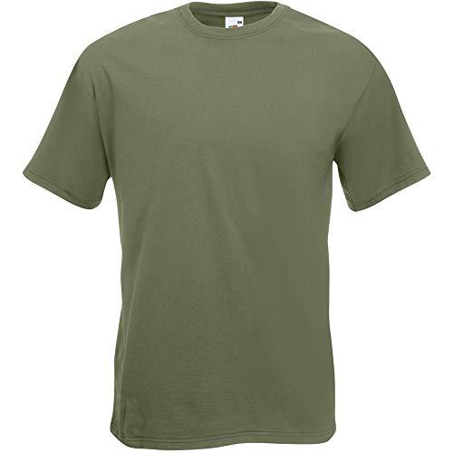 Fruit of the Loom Valueweight-T-Shirt für Männer, kurze Ärmel, Rundhalsausschnitt (kein V-Ausschnitt) Gr. XXL, Olivgrün
