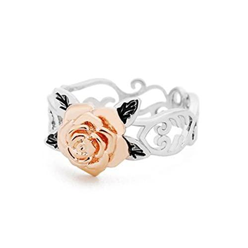 Taloit Anillo de flor de rosa, anillo de plata para mujeres y niñas, anillo de compromiso 3D de boda, de compromiso de rosa y amor