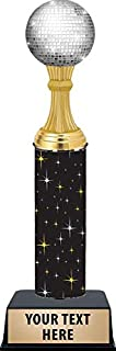 11 Inch Dance Disco Ball Trophies - Black Glimmer Modern Dance Disco Ball Trophy Awards Prime