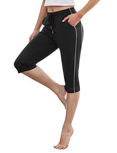 Doaraha 3/4 Pantalones Deporte para Mujer Pantalon Piratas Casual Pantalones Capri con Cordón para Correr,Yoga,Dormido,Aptitud,Danza(Negro,Tallas Grandes)