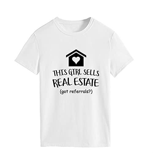Camisa de agente de bienes raíces: esta chica vende bienes raíces, ¿recibió referencias? Camiseta de manga corta (Color : White, Size : S)