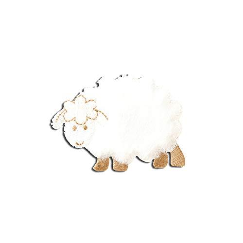 oveja animal niños - Parches termoadhesivos bordados aplique para ropa, tamaño: 4,7 x 6,5 cm