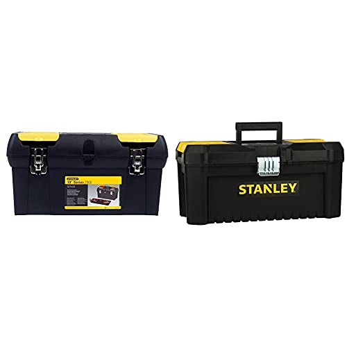 Stanley 1-92-066 Toolbox with Tote Tray, 19'/48cm & STST1-75518 Essential 16' Toolbox with Metal latches, Black/Yellow, Inch