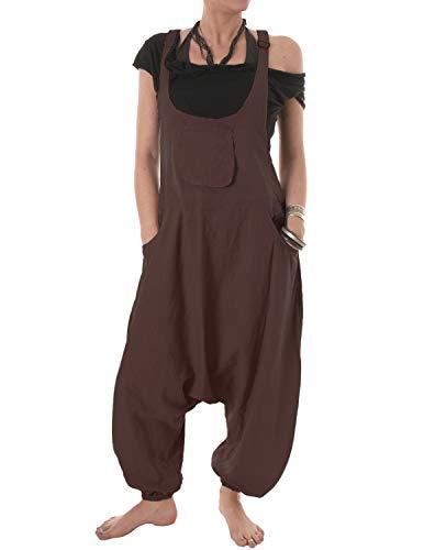 Vishes – Alternative Bekleidung – Baumwoll Latzhose Haremshose Overall braun 44 bis 46
