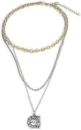 WYDSFWL Collares de Moda de Conejo de múltiples Capas, Reloj Vintage, Collares de Cadena Larga, Colgantes para Mujer, Regalo, joyería DIY