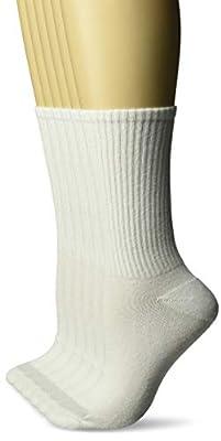 Hanes Women's Plush Comfort Toe Seem Crew Sock 6-Pack, white/w/grey vent, Shoe Size: 8-12