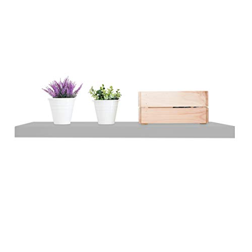 Anika Floating Shelf / 3 Separate Sizes & 4 Colour Options / 3.8cm Thick Hollowboard/Bedroom/Kitchen/Living Room/Office (Grey, 60cm)