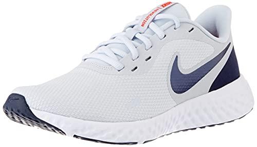 Nike Men's Revolution 5 Pure Platinum/Thunder Blue-Chile RED Running Shoe-10 Kids UK (BQ3204-018)