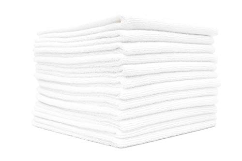 (12-Pack) 14 in. x 14 in. Commercial Grade All-Purpose Microfiber HIGHLY ABSORBENT, LINT-FREE, STREAK-FREE Cleaning Towels - THE RAG COMPANY (White)