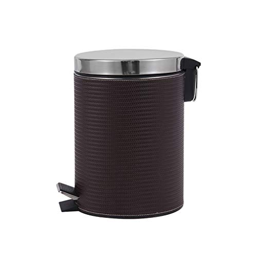 ZWD Schwarz Trash Can, Schlafzimmer Badezimmer den Abfall Reinigung kann Pedal Typ Multifunktions-Runde Trash Can 8 Liter Mülltonnen (Color : Black)