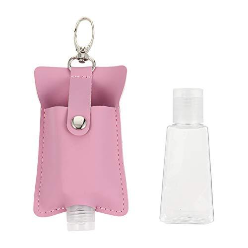 Hemoton Parfum reisfles, sleutelhanger met leren hoes, kunststof, flip-cap, fles, lege zeepdispenser, navulbare douchegel, reishouder voor shampoo, handgel