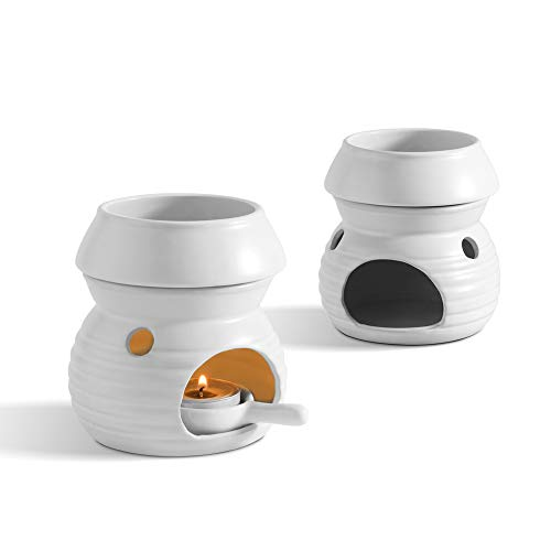ComSaf Keramik Duftlampe mit Kerzenhalter Matt Weiß 2er-Set, Aromalampe Aromabrenner für Duftöl und Duftwachs