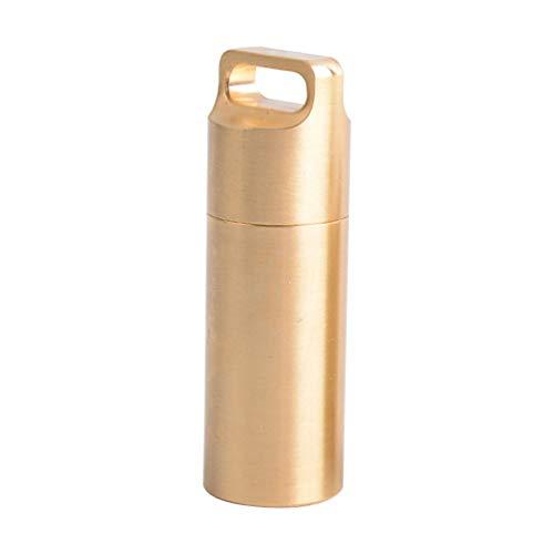 Capa Fob Milisten Mini Pill à prova d'água, porta-comprimidos com bolso, capa de almofada de emergência para acampamento ao ar livre (grande), Dourado, Size 1