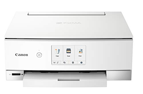 Canon TS8320 All In One Wireless Color Printer, Copier, Scanner, Home Inkjet Printerwith Mobile Printing, White, Works with Alexa