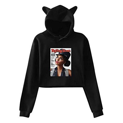 Women's Cat Ear Hoodie Sweater Janelle Composer Monae Lumbar Sweatshirt Hooded