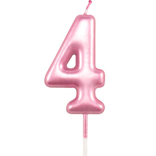 4th Birthday Candle Four Years Pink Happy Birthday Number 4 Candles for Cake Topper Decoration for Party Kids Adults Numeral 40 14 54 84 47 24 64 14