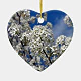 McC538arthy 3' Holiday Tree Ornament/Bradford Pear Blooms Ceramic Ornament/Heart Shape Ornament with Gold Ribbon/Merry Christmas Ornaments