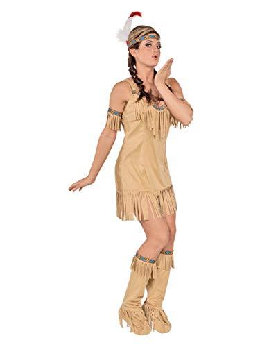 Horror-Shop Beiges Indianerin Kostüm Kimi für Fasching & Halloween L