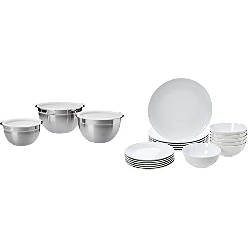 Amazon Basics - Rührschüsseln, Edelstahl, 3-teiliges Set & Geschirrservice, 18-teilig, Weißes Porzellan Coupe, für 6 Personen