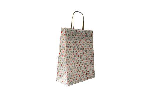 Carte Dozio - Shopper di Natale in Kraft, multi fantasia natalizia, maniglia ritorta, f.to cm 22+10x29, cf 10 pz