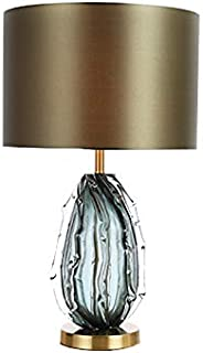 Moderne Contemporary Table Lamp Clear Crystal Glass Fabric Drum Shade Decor for Living Room Bedroom House Bedside Nightsta...