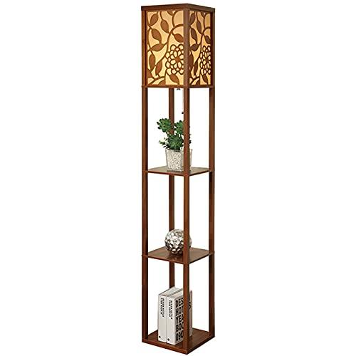 Lámpara de Pie Lámpara de pie de estante LED moderna - Mesa final delgada y mesas de noche para dormitorio - Estantes de libros de torre asiática Lámpara de Pie Moderna