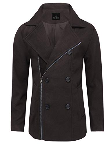 TAM WARE Mens Stylish Zip Up Wool Double Breasted Pea Coat TWCC17-BROWN-US M